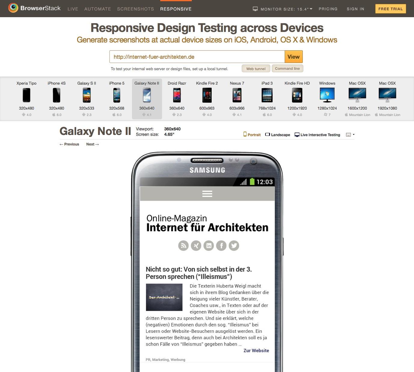 Screenshot des Test-Tools für responsive Webdesign von Browserstack: Internet-fuer-Architekten.de auf dem Samsung Galaxy Note II
