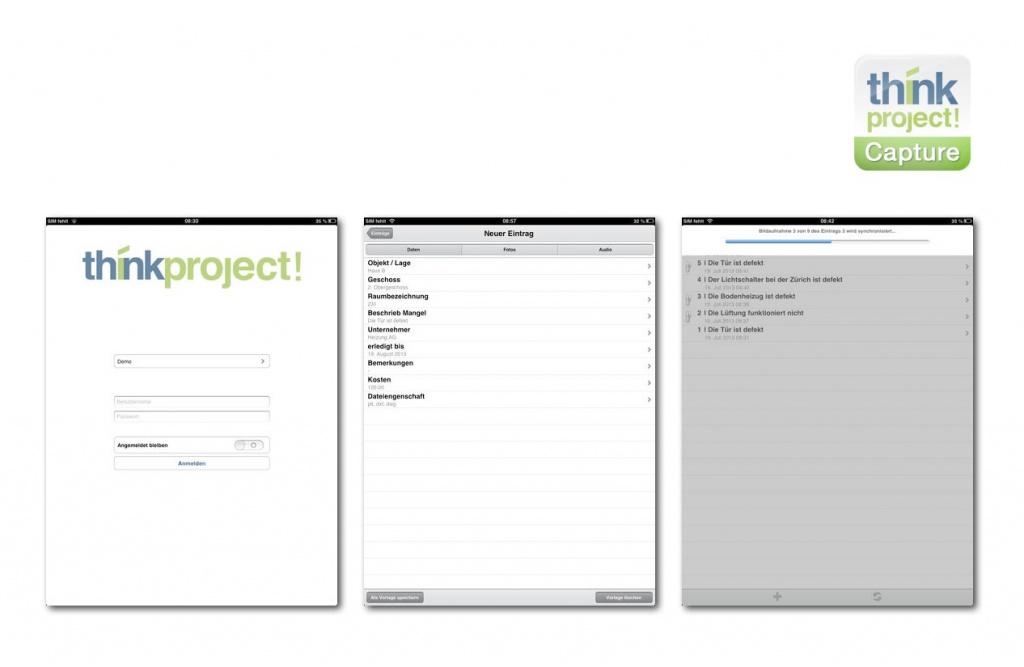 Neue App für die Projektplattform think project! (Screenshots der iPad-Version)