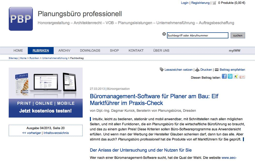 """Screenshot des Marktüberblicks für Controlling-Software auf """"Planungsbüro professionell"""""""