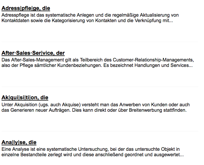Screenshot des Marketing-Lexikons für Architekten