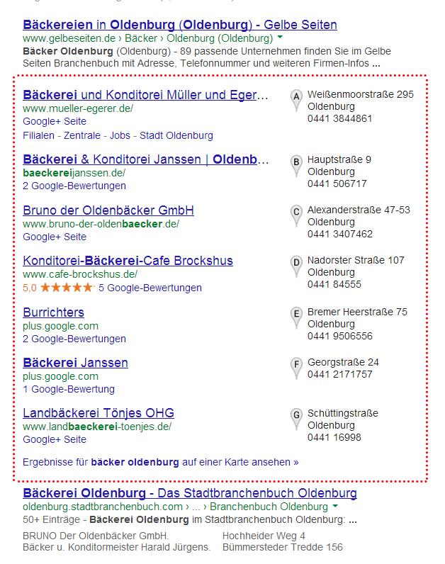 Google Places-Ergebnisse für eine Suchanfrage mit regionalem Bezug