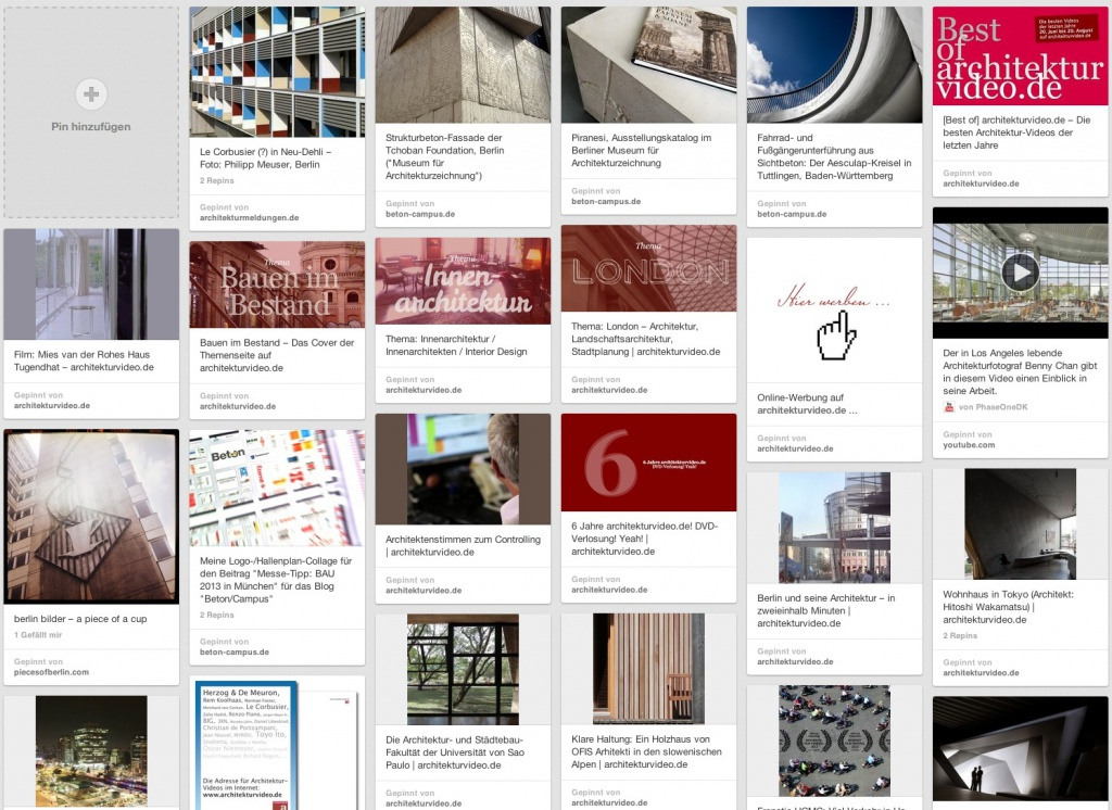 """Oh ja, Pinterest eignet sich hervorragend zum """"Sammeln"""" von Architektur. Hier eines meiner Pinboards."""