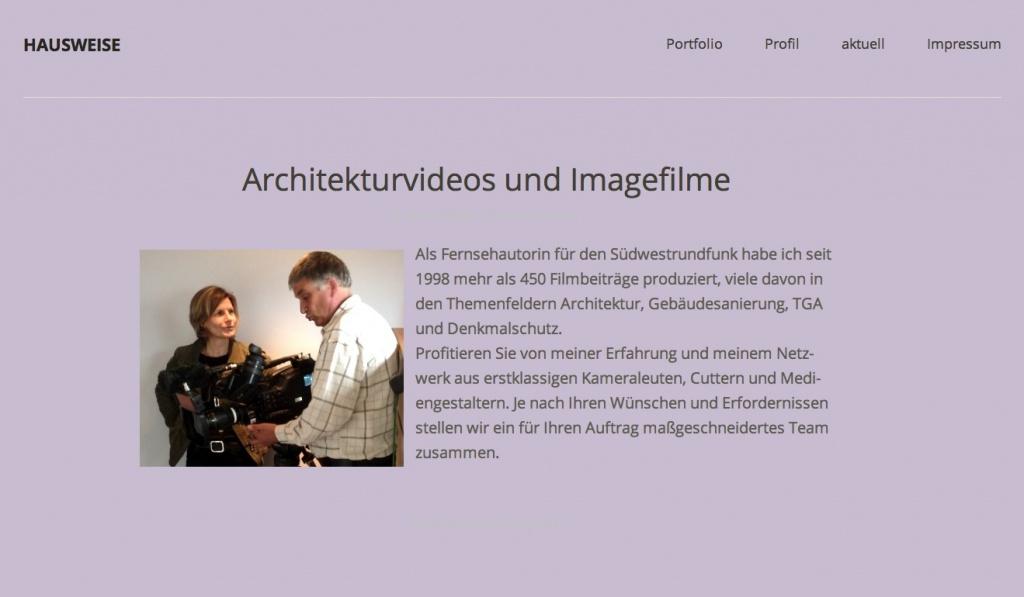 Hausweise – Architekturvideos und Imagefilme (Screenshot Oktober 2013)