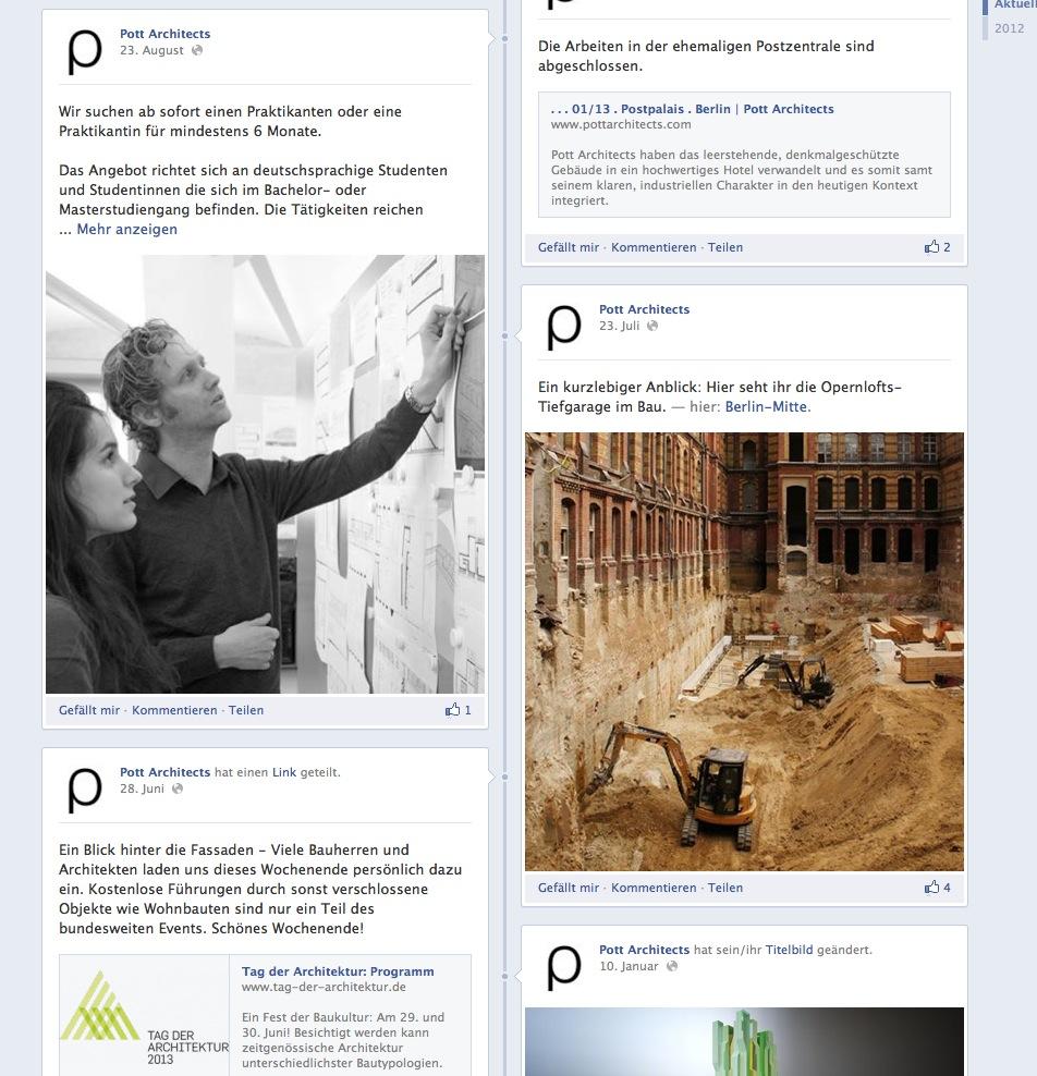 Die Facebook-Seite von Pott Architects (Screenshot im Oktober 2013)