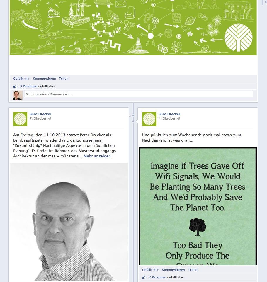 Büro Drecker, Bottrop – Screenshot der Facebook-Seite (Oktober 2013)