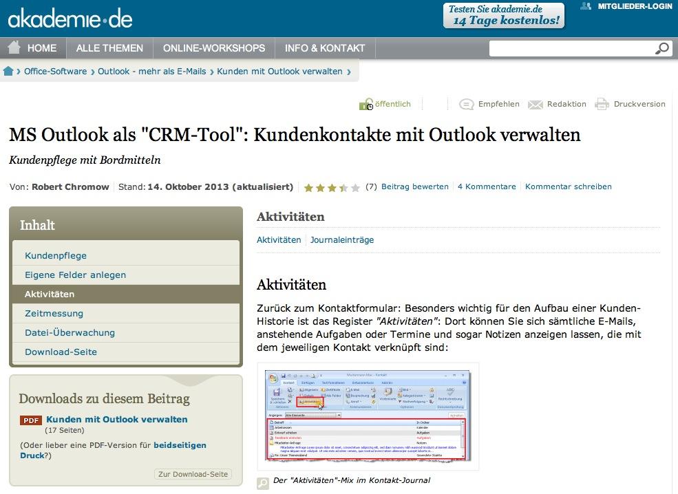"""Screenshot: Der Beitrag """"MS Outlook als """"CRM-Tool"""": Kundenkontakte mit Outlook verwalten"""" auf akademie.de"""