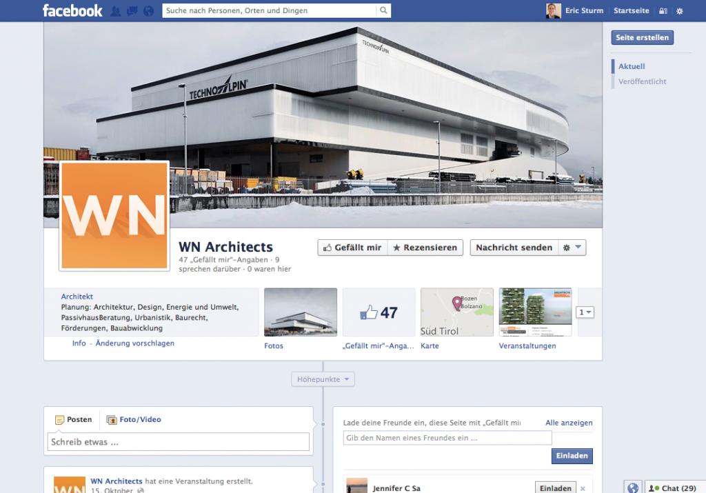 Screenshot der Facebook-Seite von ARCHITECTS – Willeit – Niederstätter (Oktober 2013)