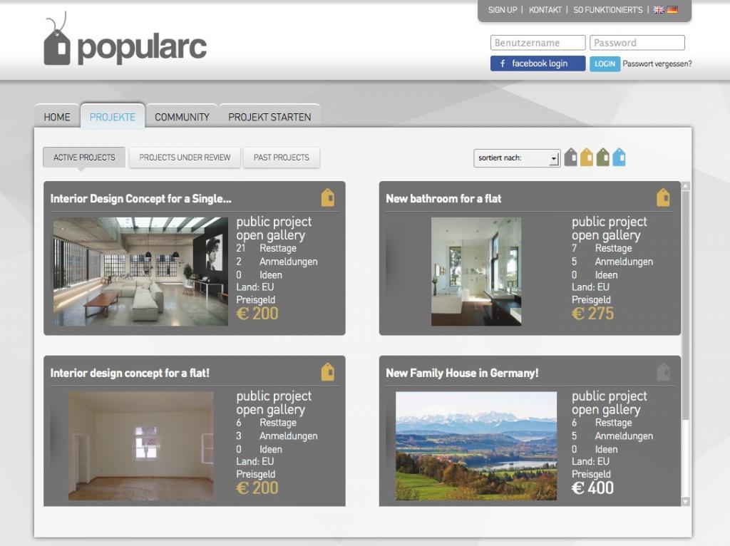 Aktuelle Crowdsourcing-Projekte auf der Architektur-Plattform popularc.com (Screenshot)