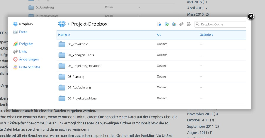 Less is more: Die Verzeichnisstruktur in der Projekt-Dropbox (Screenshot von mathoi.eu)