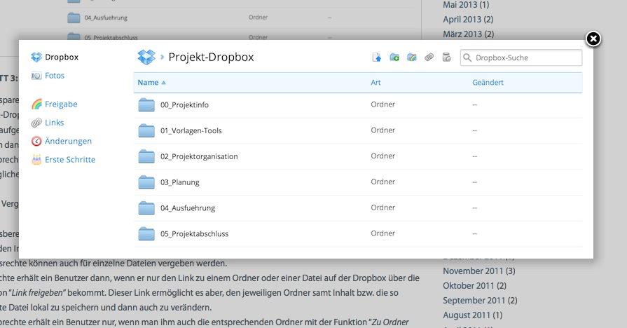 Less is more: Die Verzeichnisstruktur in der Projekt-Dropbox (Screenshot von mathoi.eu)