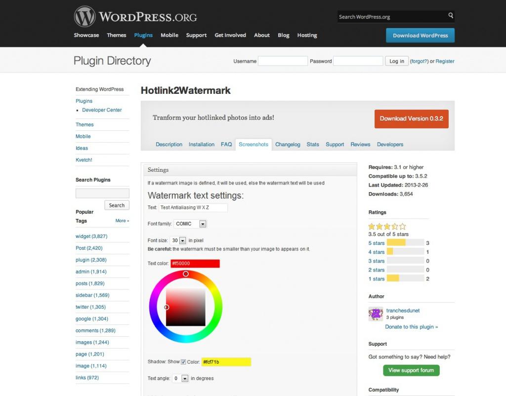 Das Plugin Hotlink2Watermark (Screenshot im Plugin-Verzeichnis von WordPress)