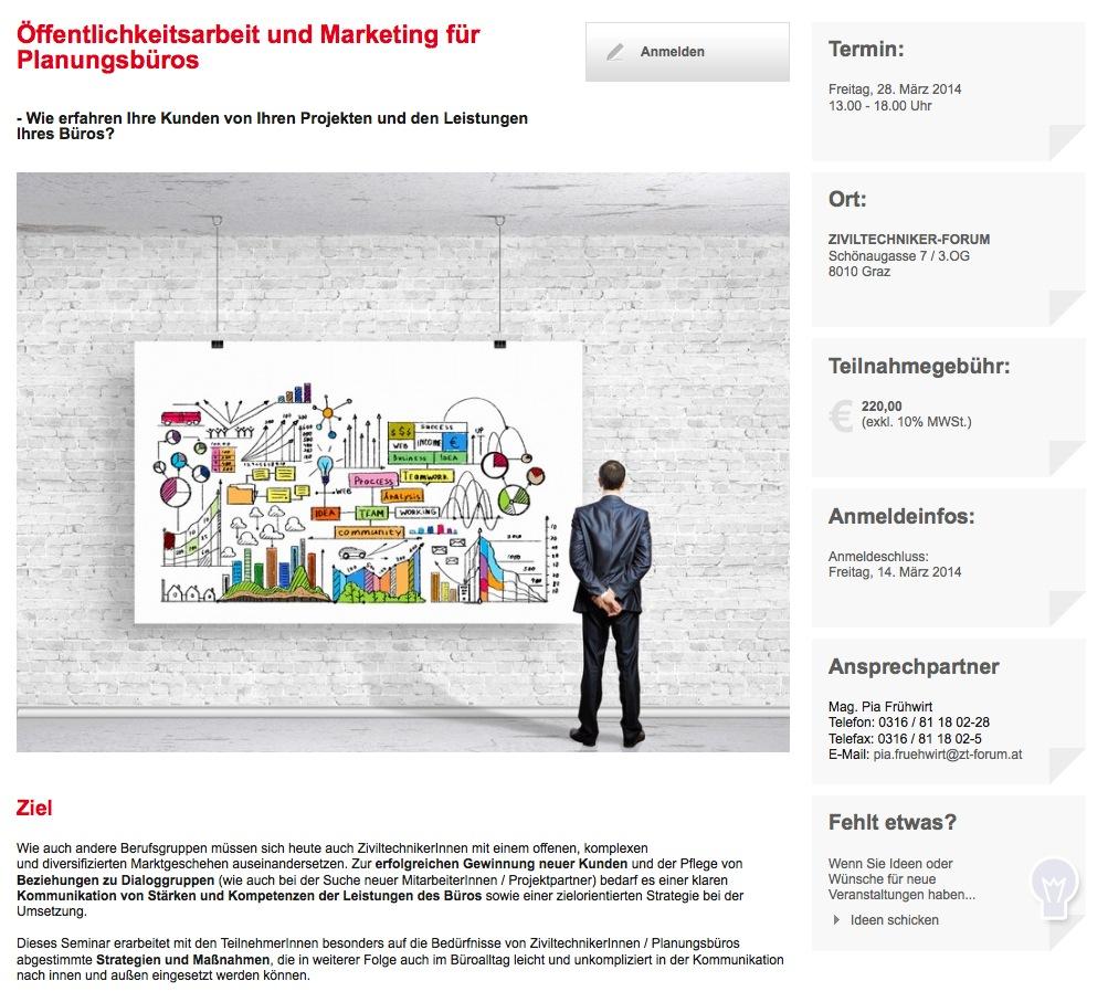 Öffentlichkeitsarbeit und Marketing für Planungsbüros (Screenshot der ZT-Forums-Website)