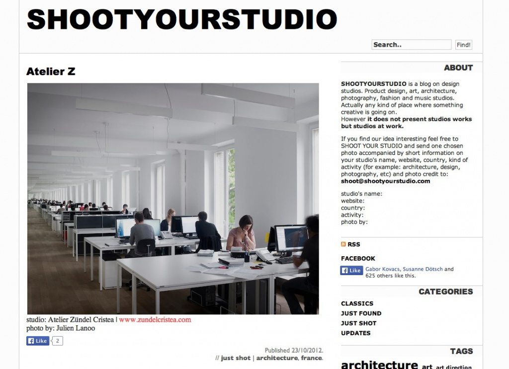 Blog SHOOTYOURSTUDIO (Screenshot Atelier Z, Frankreich)