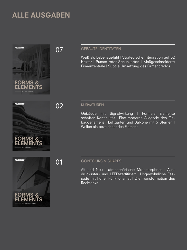 Screenshot: Architektur-Magazin Forms & Elements (ALUCOBOND)