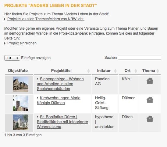 """Die ersten Projekte zum Themenbereich """"Anders leben in der Stadt"""" (Ausschnitt Screenshot)"""