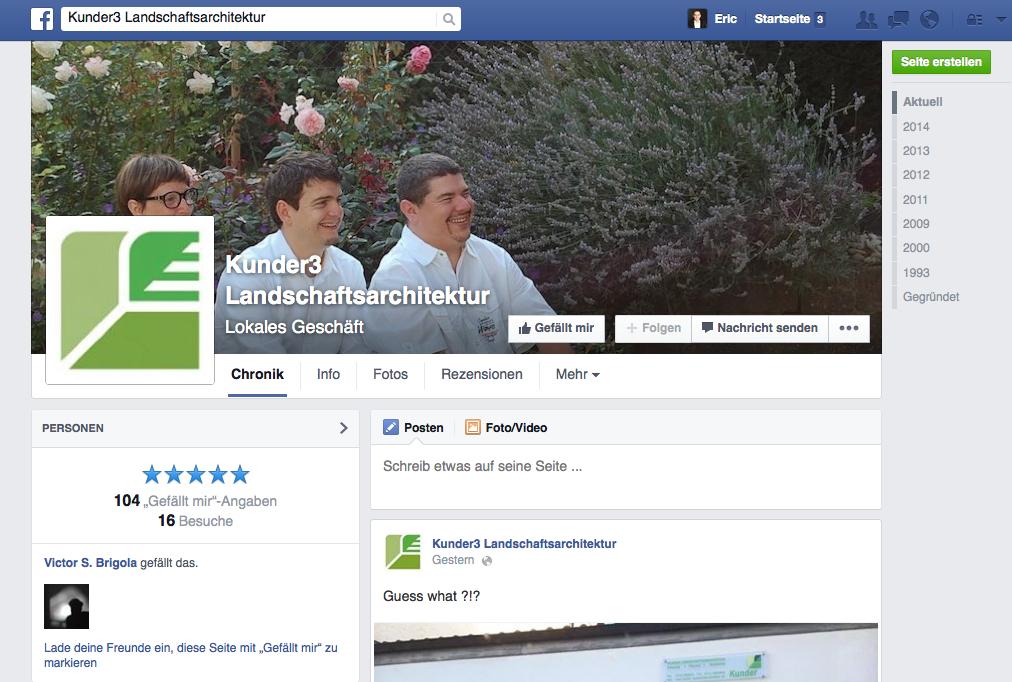 Kunder3 Landschaftsarchitektur, Filderstadt (Screenshot der Facebook-Seite, Juni 2014)