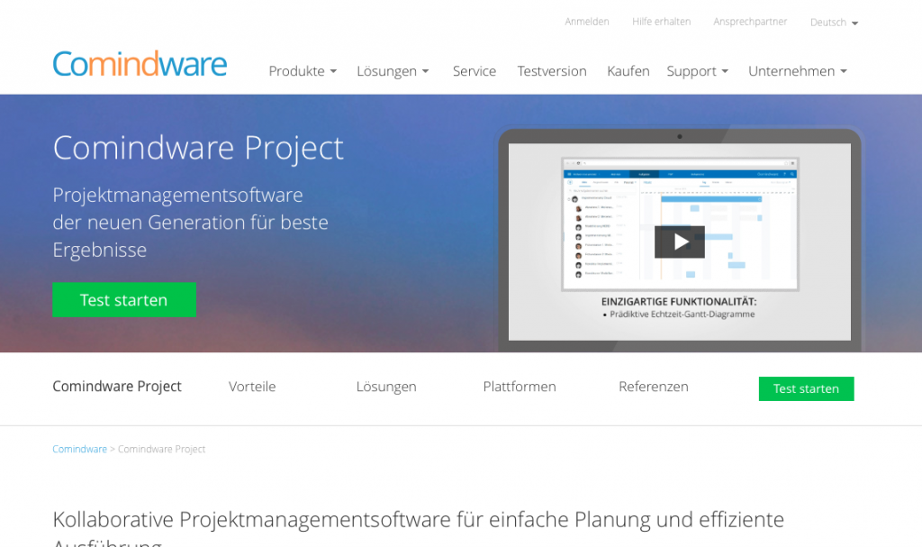Projektmanagement-Software Comindware Project (Screenshot der Website, Juni 2014)