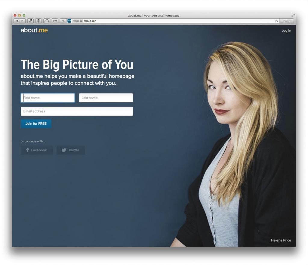 about.me (Screenshot, Marktüberblick Website-Baukästen)