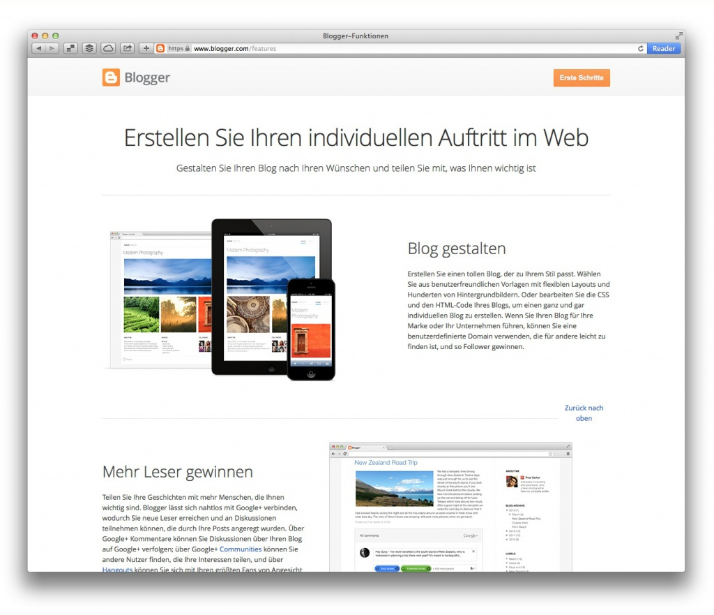 Blogger (Screenshot, Marktüberblick Website-Baukästen)