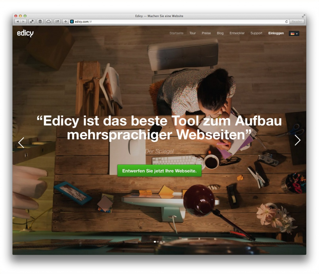 edicy (Screenshot, Marktüberblick Website-Baukästen)