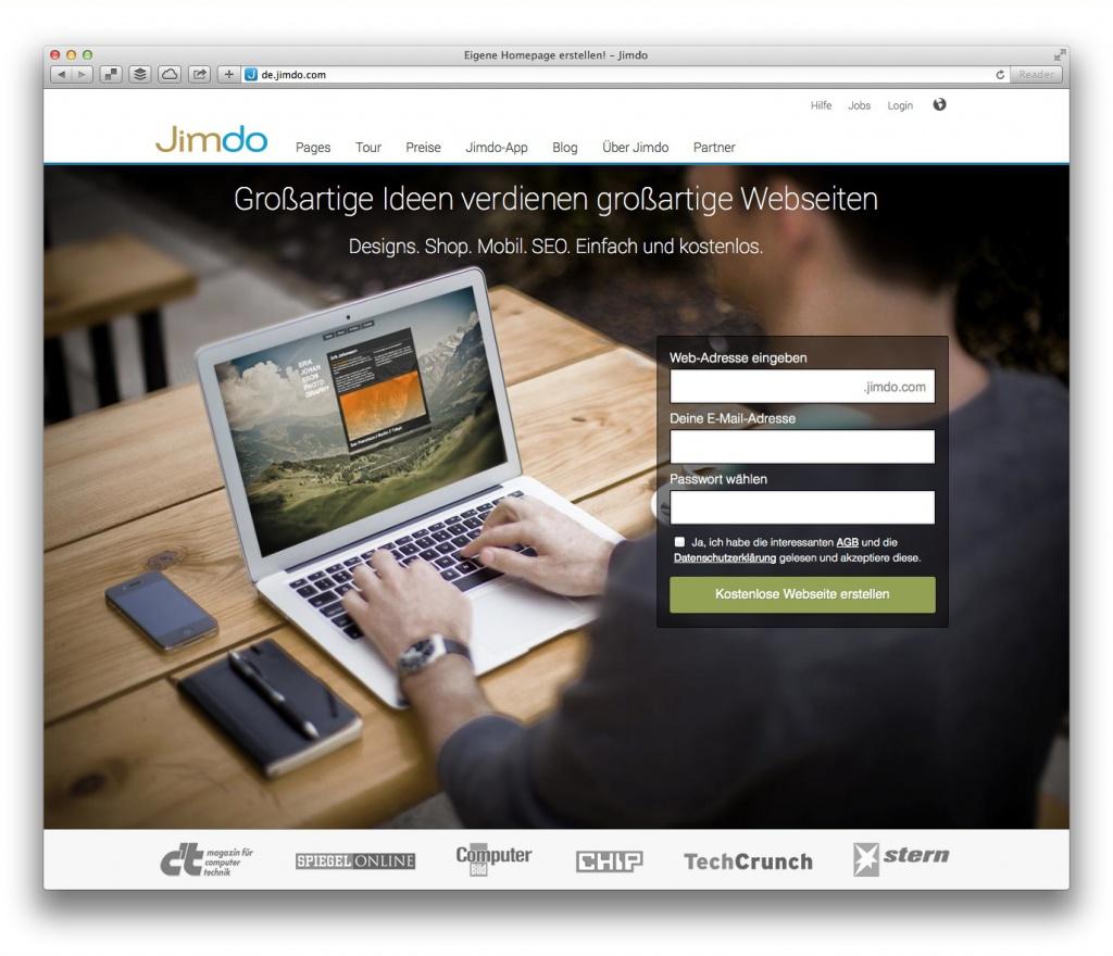 Jimdo (Screenshot, Marktüberblick Website-Baukästen)