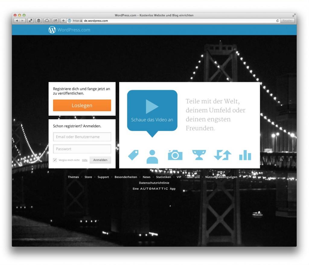 Wordpress.com (Screenshot, Marktüberblick Website-Baukästen)