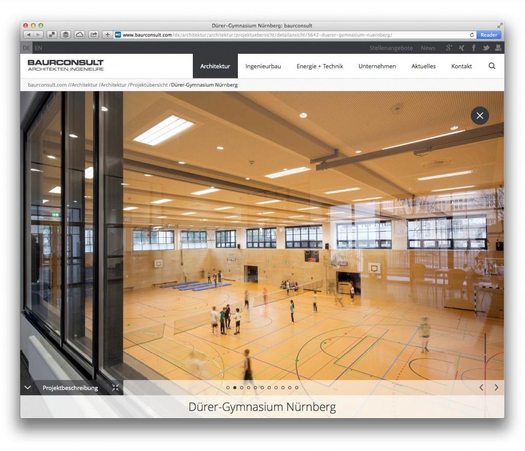 Projektseiten mit großzügigen Architekturfotos auf baurconsult.com