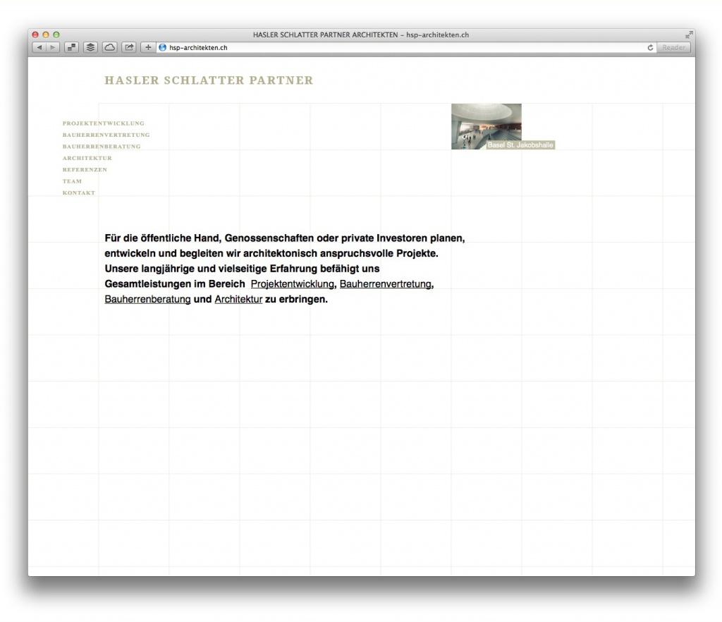 """Reduktion: Die Startseite von Hasler Schlatter Partner zeigt nur eine geschriebene """"Botschaft"""""""