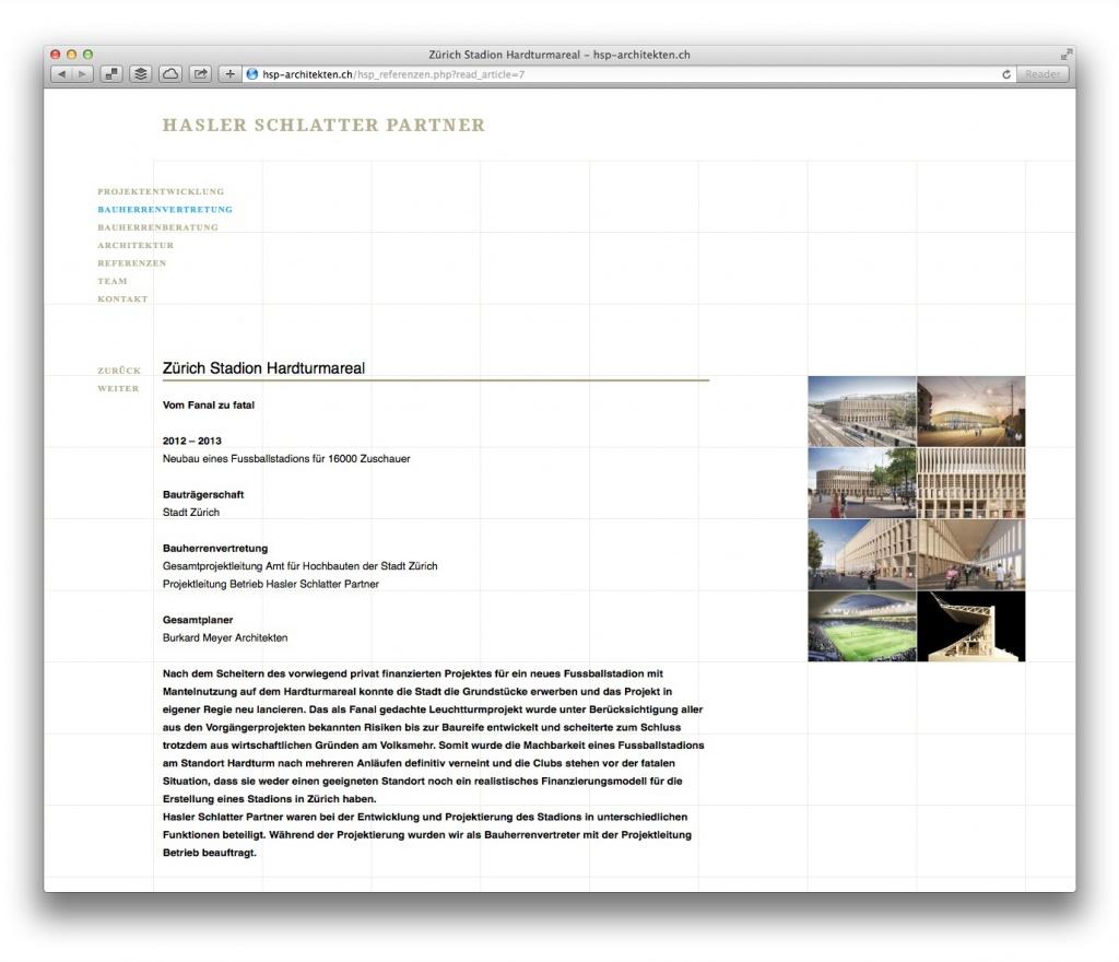 Projektseite von Hasler Schlatter Partner (Zürich)