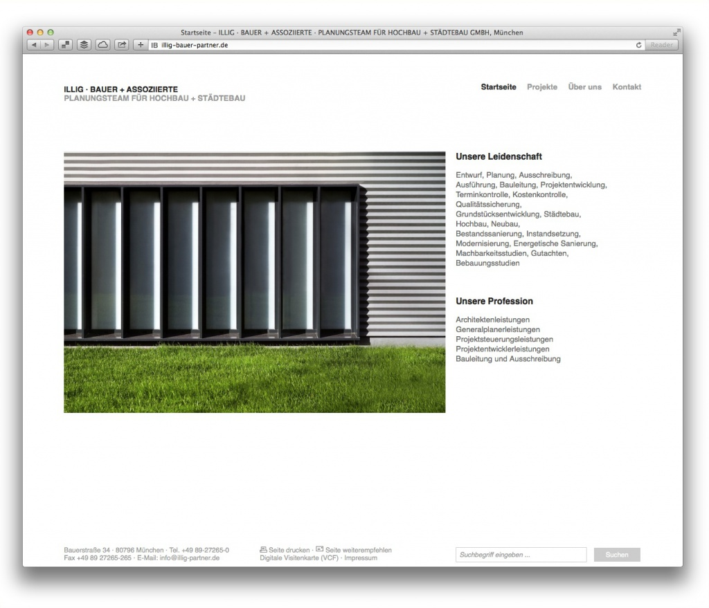 Ruhige Startseite mit allen wichtigen Informationen: Illig Bauer Assoziierte, München