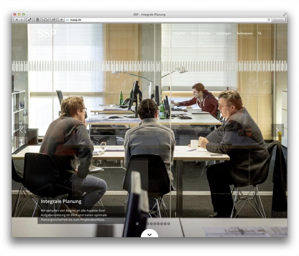 Bildschirmfüllend: Die Startseite von SSP bietet wechselnde Einblicke in das Büro und seine Arbeit