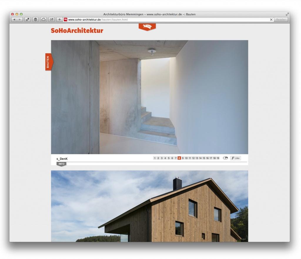 """Bildreich: Unter """"Bauten"""" stellt SoHoArchitektur seine Projekte mit vielen Fotos vor."""