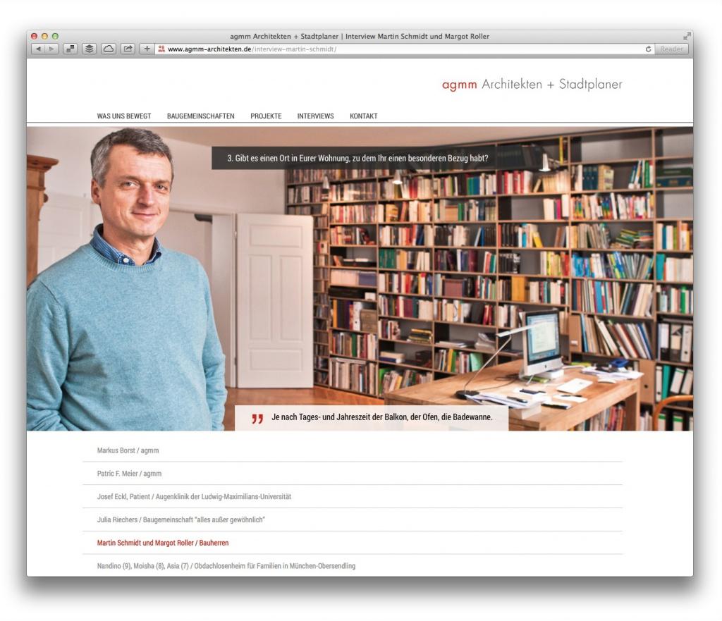 Auch die Bauherren kommen zu Wort: Interview-Seite von agmm Architekten + Stadtplaner