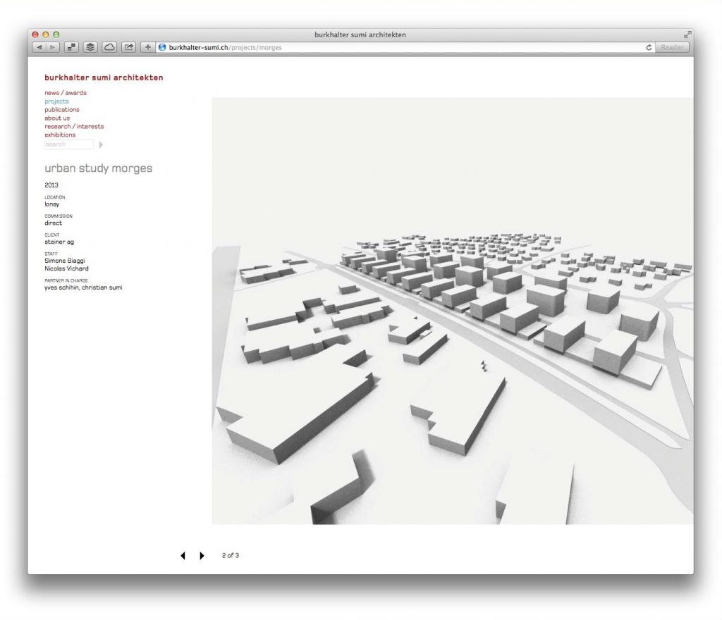 Schneller Überblick: Detailseite mit tabellarischen Projektdaten und großen Abbildungen (burkhalter sumi architekten)