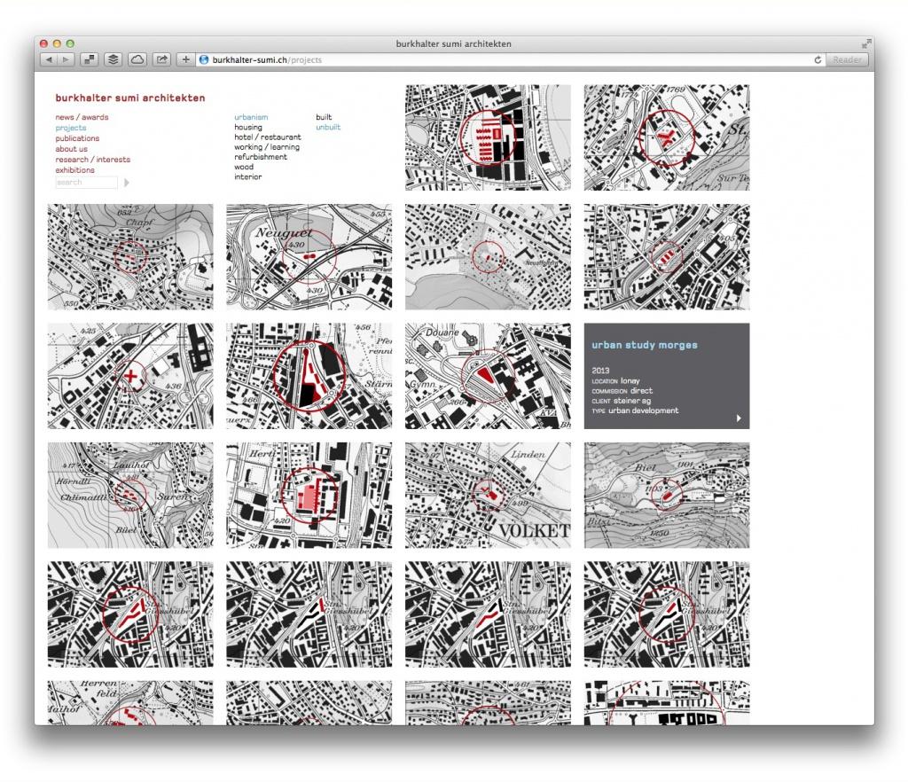 Unverwechselbar: Projektübersicht mit Lageplan-Ausschnitten (burkhalter sumi architekten, Zürich)