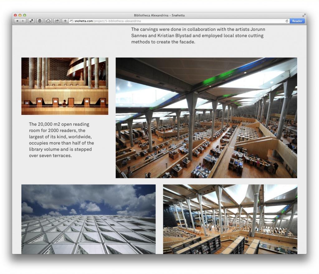 Großzügiges Magazin-Layout: Projektseite von Snøhetta (Bibliothek in Alexandria)