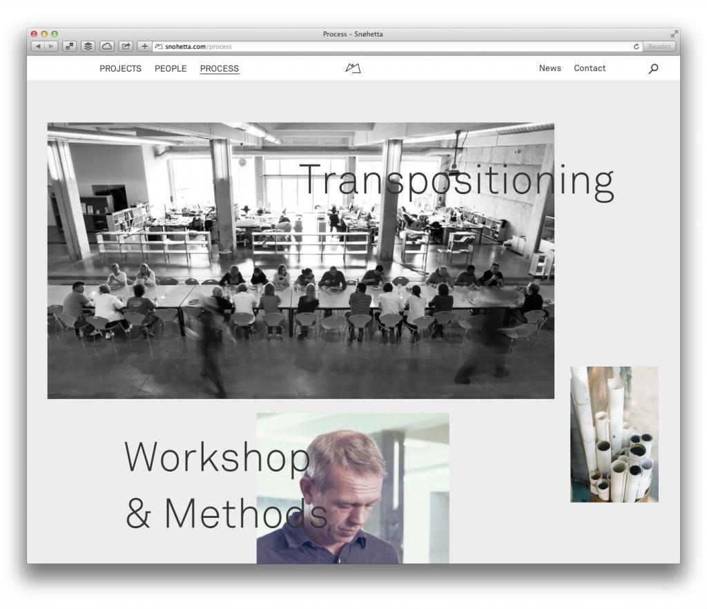 Auch den Arbeitsprozess des Büros bildet Snøhetta auf der eigenen Website ab.