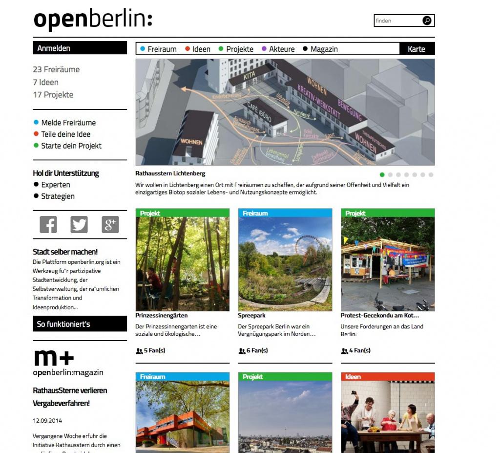 Aktuelle Projekte auf der Startseite von openBerlin (Screenshot September 2014)