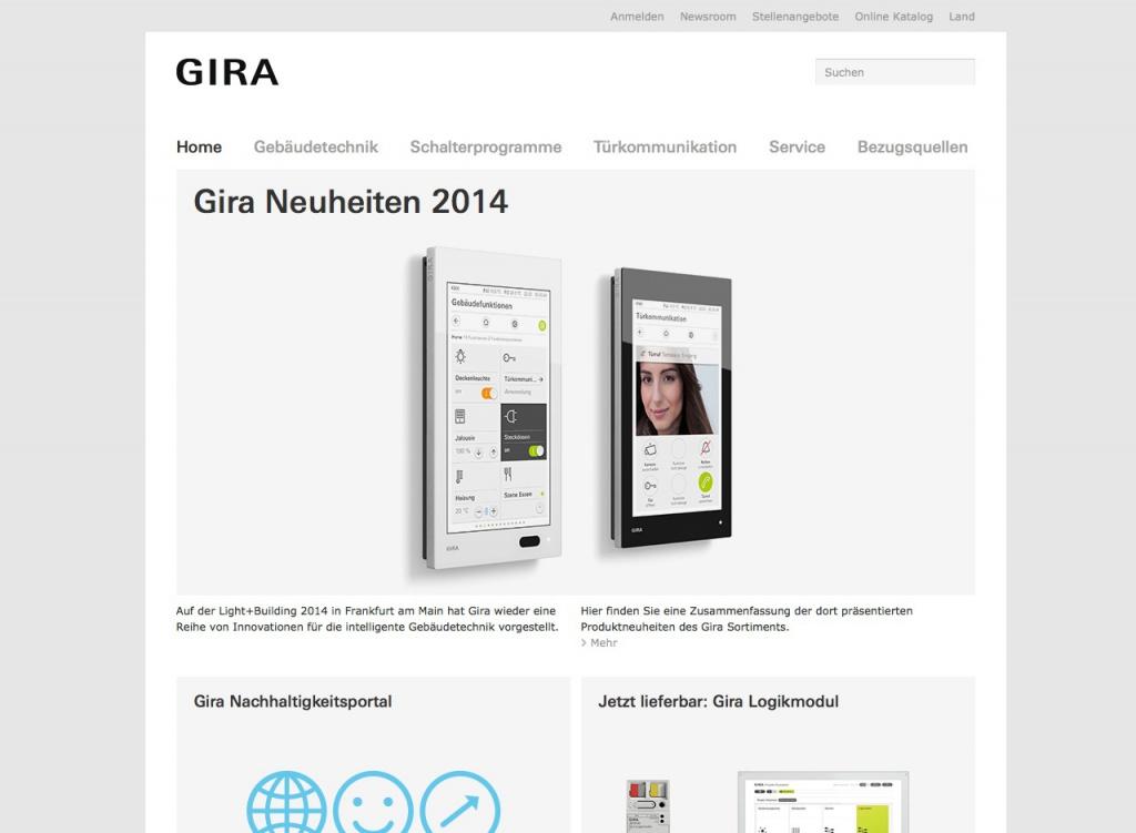 Screenshot der Startseite von GIRA.de