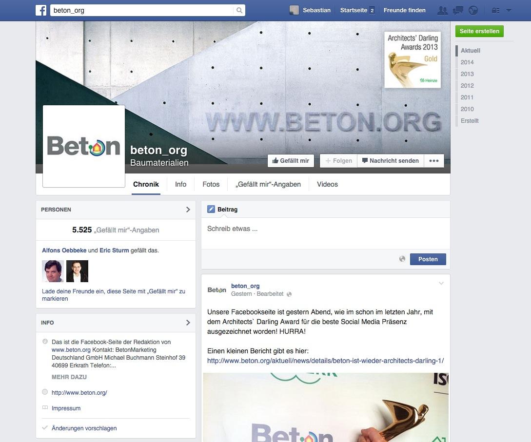 Screenshot der Facebook-Seite von Beton.org