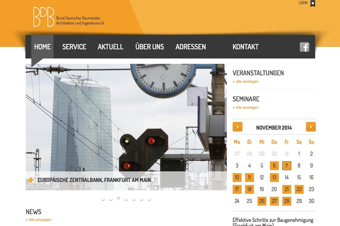 Screenshot der neuen Startseite des BDB (im November 2014)