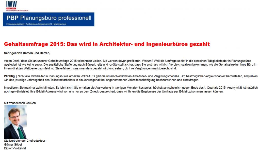 Gehälter von Architekten und Ingenieuren: Startseite der Umfrage des IWW Instituts (2015)