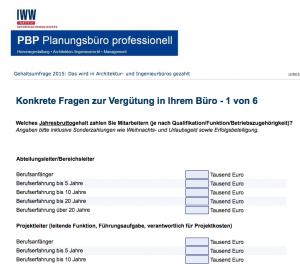Gehaltsumfrage Architekten und Ingenieure (IWW Institut, 2015)