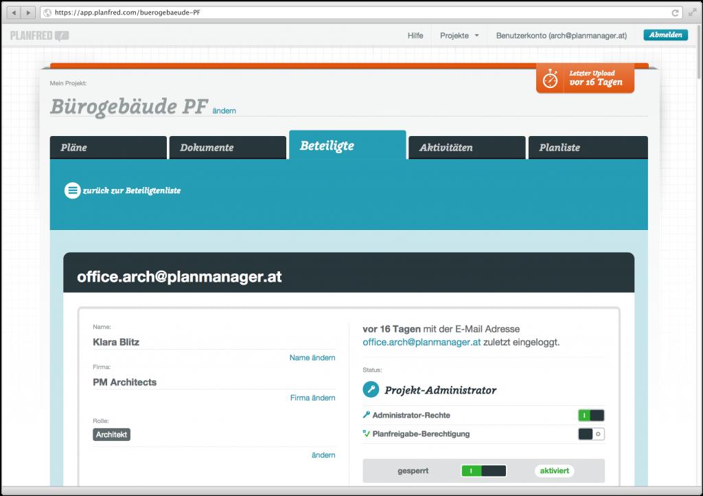 Screenshot aus Planfred (Projektbeteiligte)