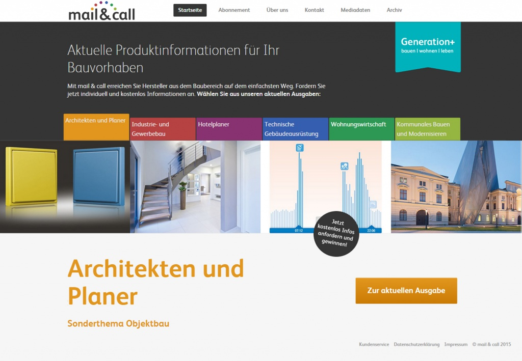 Screenshot der mail & call-Website ( www.mailandcall.de)