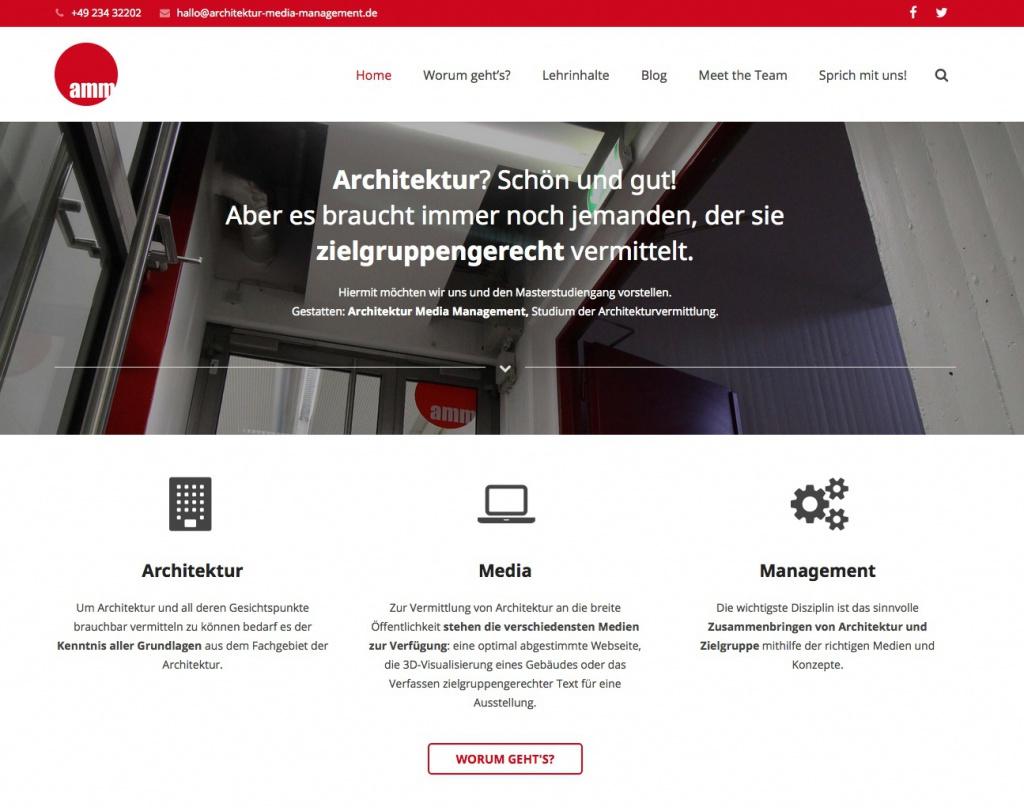 Die Startseite der neuen AMM-Website