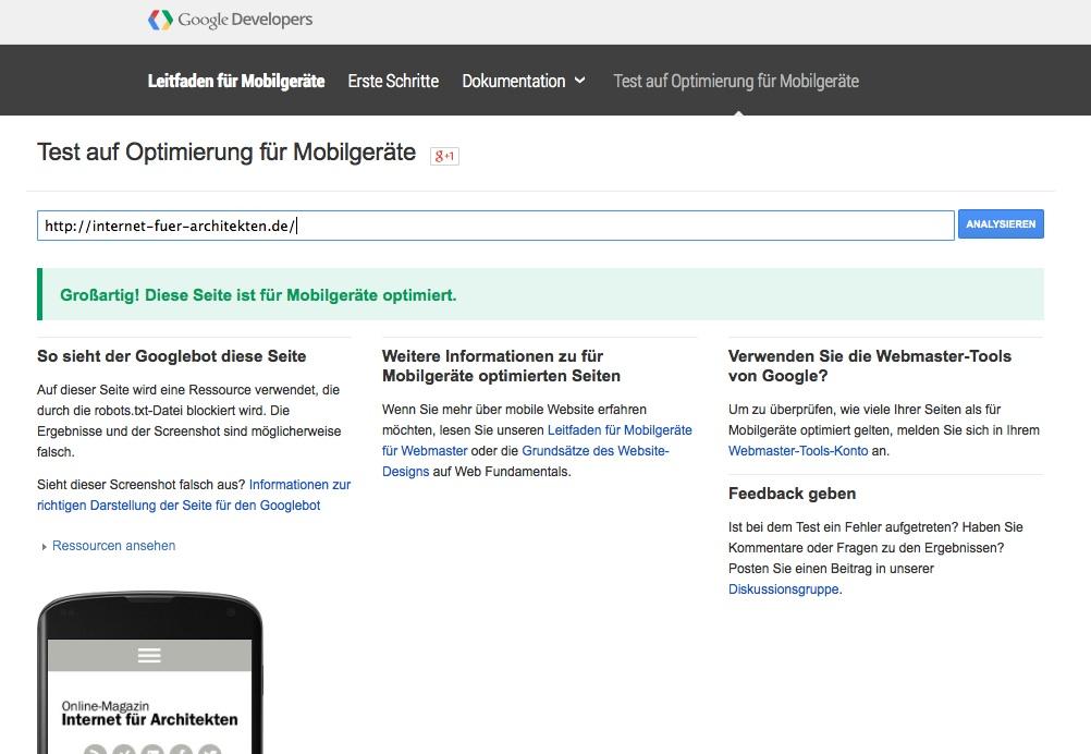 Mobil oder nicht? Google bietet ein Tool, um Websites zu testen