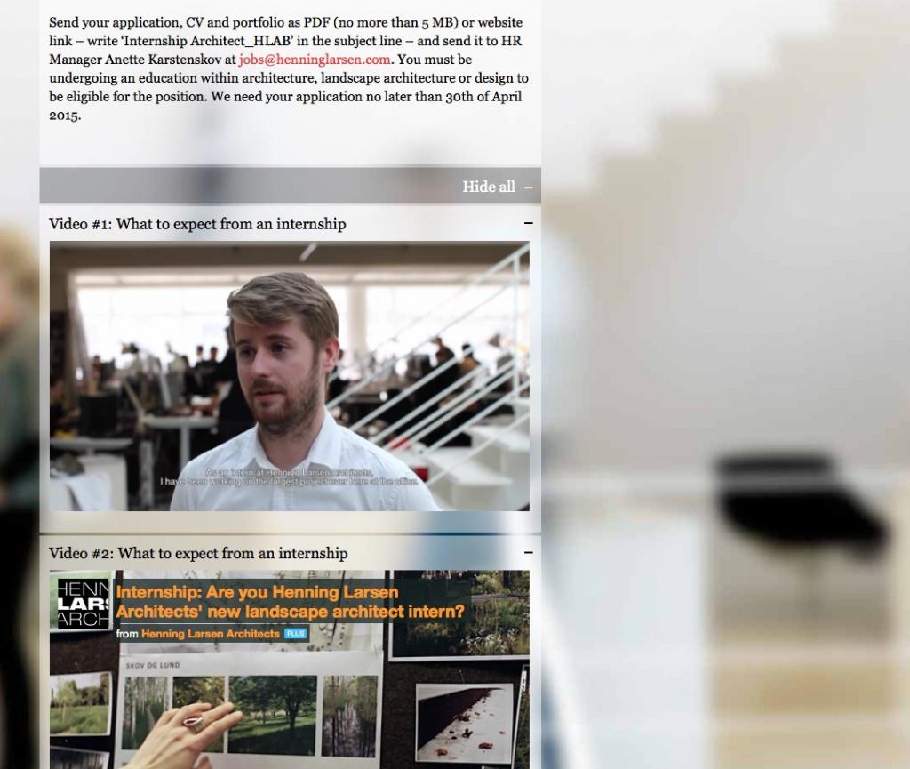 Interview-Video mit einem Praktikanten auf der Büro-Website von Henning Larsen Architects