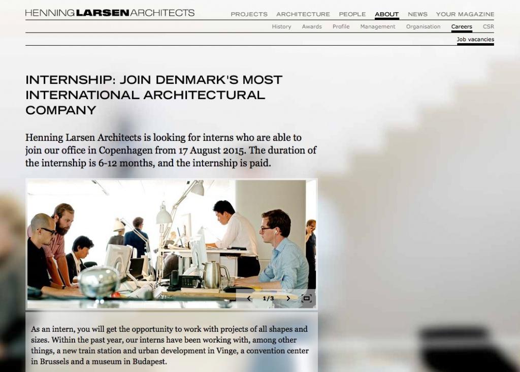 Ausführliche Stellenausschreibungen (auch für Praktikantenstellen) auf der Büro-Website von Henning Larsen Architects