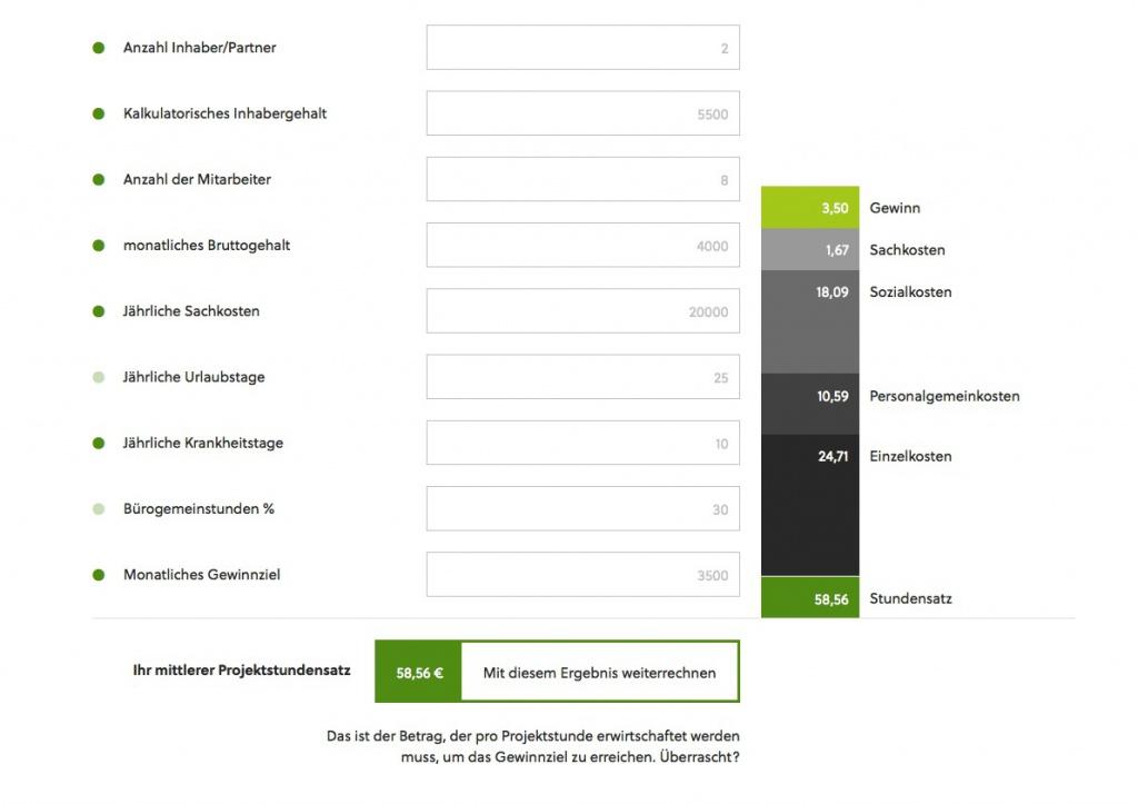 Projektcontrolling für Einsteiger: Stundensatz und Projektkosten online berechnen (Screenshot)
